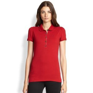 Burberry Brit Small Polo Top Red Short Sleeve 294